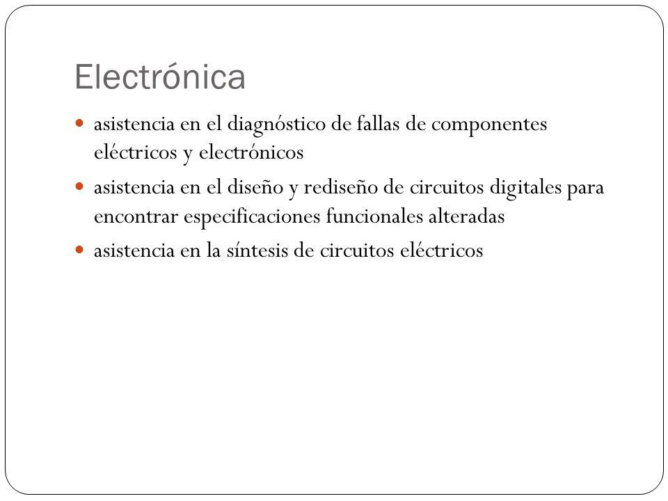 Electrónica asistencia en el diagnóstico de fallas de componentes eléctricos y electrónicos asistencia en el diseño y rediseño de circuitos digitales para encontrar especificaciones funcionales alteradas asistencia en la síntesis de circuitos eléctricos