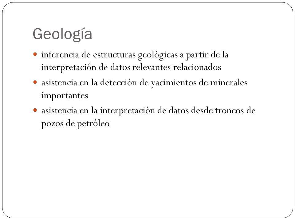 Geología inferencia de estructuras geológicas a partir de la interpretación de datos relevantes relacionados asistencia en la detección de yacimientos de minerales importantes asistencia en la interpretación de datos desde troncos de pozos de petróleo