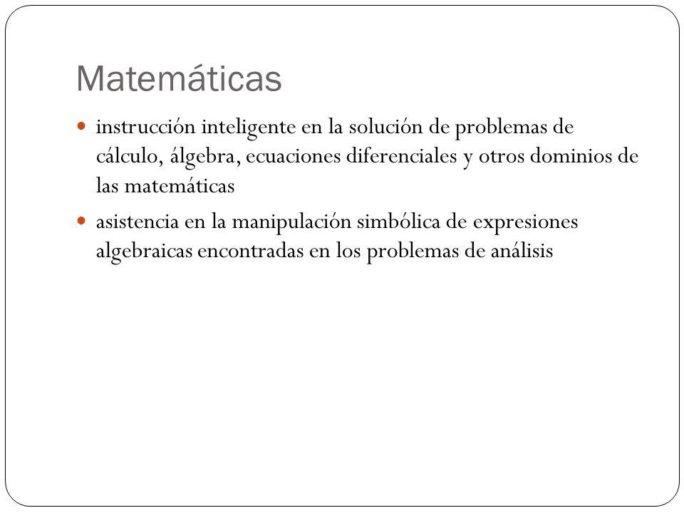 Matemáticas instrucción inteligente en la solución de problemas de cálculo, álgebra, ecuaciones diferenciales y otros dominios de las matemáticas asistencia en la manipulación simbólica de expresiones algebraicas encontradas en los problemas de análisis