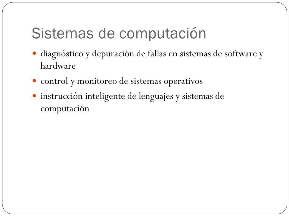 Sistemas de computación diagnóstico y depuración de fallas en sistemas de software y hardware control y monitoreo de sistemas operativos instrucción inteligente de lenguajes y sistemas de computación