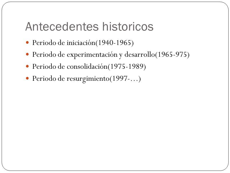 Antecedentes historicos Periodo de iniciación(1940-1965) Periodo de experimentación y desarrollo(1965-975) Periodo de consolidación(1975-1989) Periodo