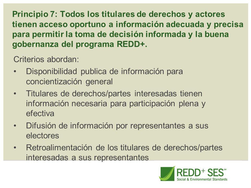 Principio 7: Todos los titulares de derechos y actores tienen acceso oportuno a información adecuada y precisa para permitir la toma de decisión infor