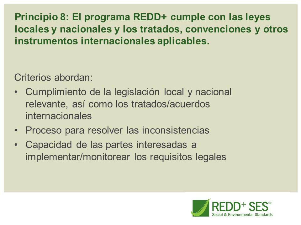 Principio 8: El programa REDD+ cumple con las leyes locales y nacionales y los tratados, convenciones y otros instrumentos internacionales aplicables.
