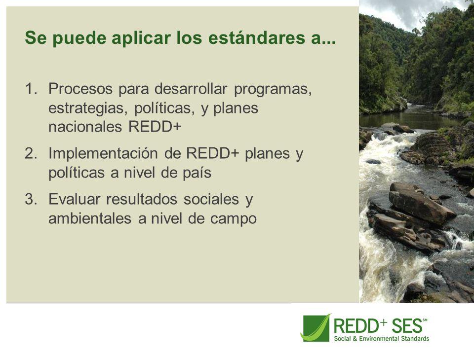 Se puede aplicar los estándares a... 1.Procesos para desarrollar programas, estrategias, políticas, y planes nacionales REDD+ 2.Implementación de REDD