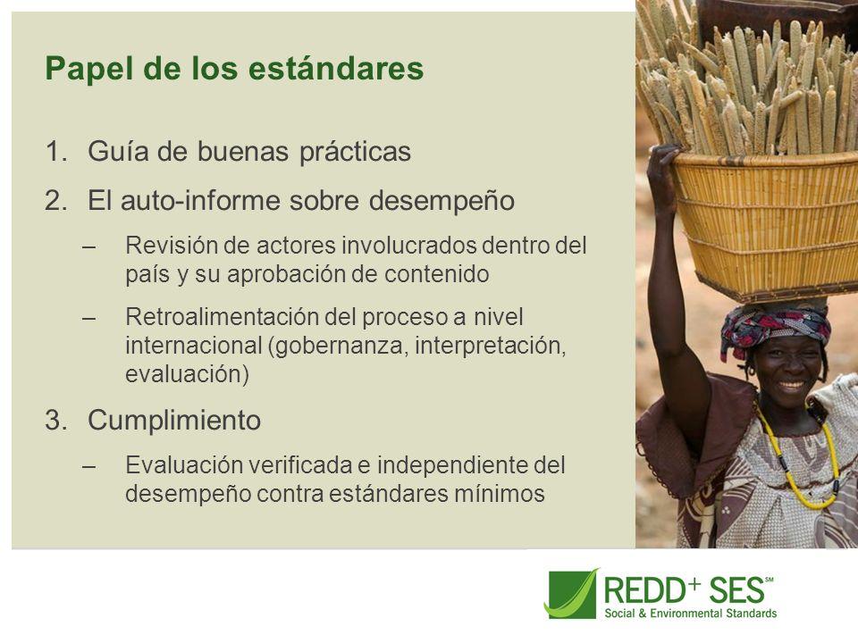 Papel de los estándares 1.Guía de buenas prácticas 2.El auto-informe sobre desempeño –Revisión de actores involucrados dentro del país y su aprobación