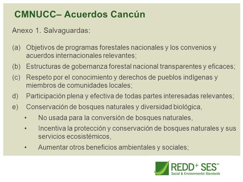 CMNUCC– Acuerdos Cancún Anexo 1. Salvaguardas: (a)Objetivos de programas forestales nacionales y los convenios y acuerdos internacionales relevantes;