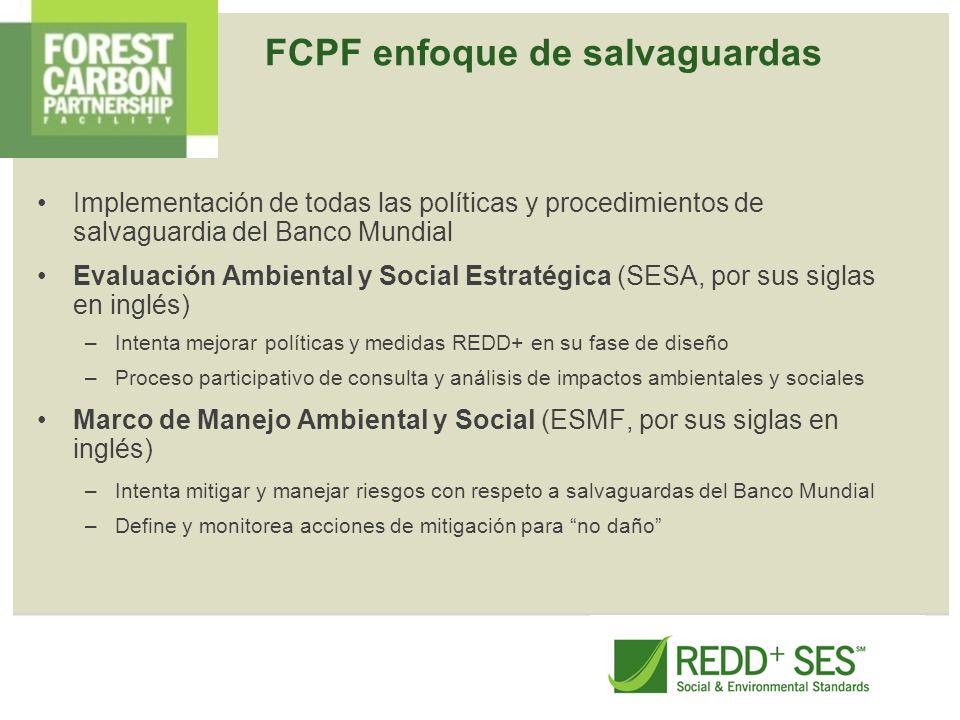 FCPF enfoque de salvaguardas Implementación de todas las políticas y procedimientos de salvaguardia del Banco Mundial Evaluación Ambiental y Social Es