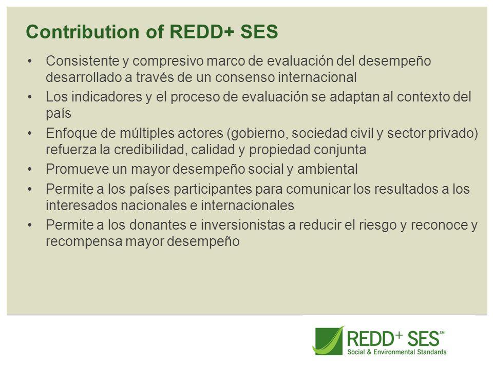 Contribution of REDD+ SES Consistente y compresivo marco de evaluación del desempeño desarrollado a través de un consenso internacional Los indicadore