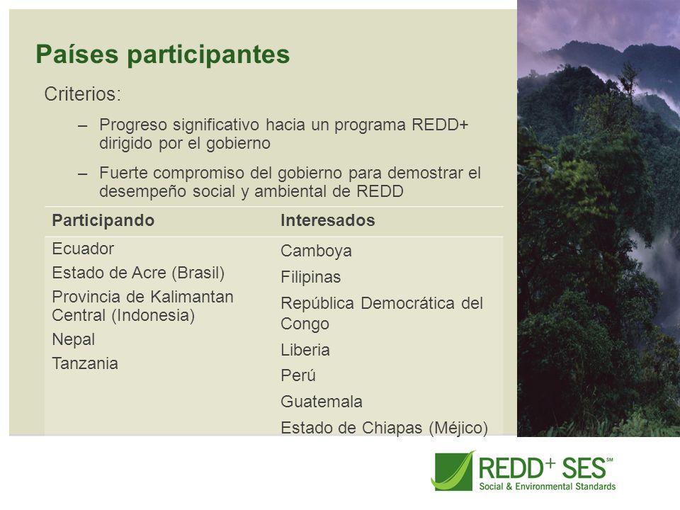 Países participantes Criterios: –Progreso significativo hacia un programa REDD+ dirigido por el gobierno –Fuerte compromiso del gobierno para demostra