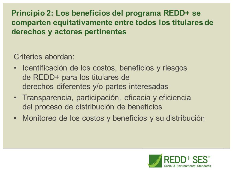 Principio 2: Los beneficios del programa REDD+ se comparten equitativamente entre todos los titulares de derechos y actores pertinentes Criterios abor