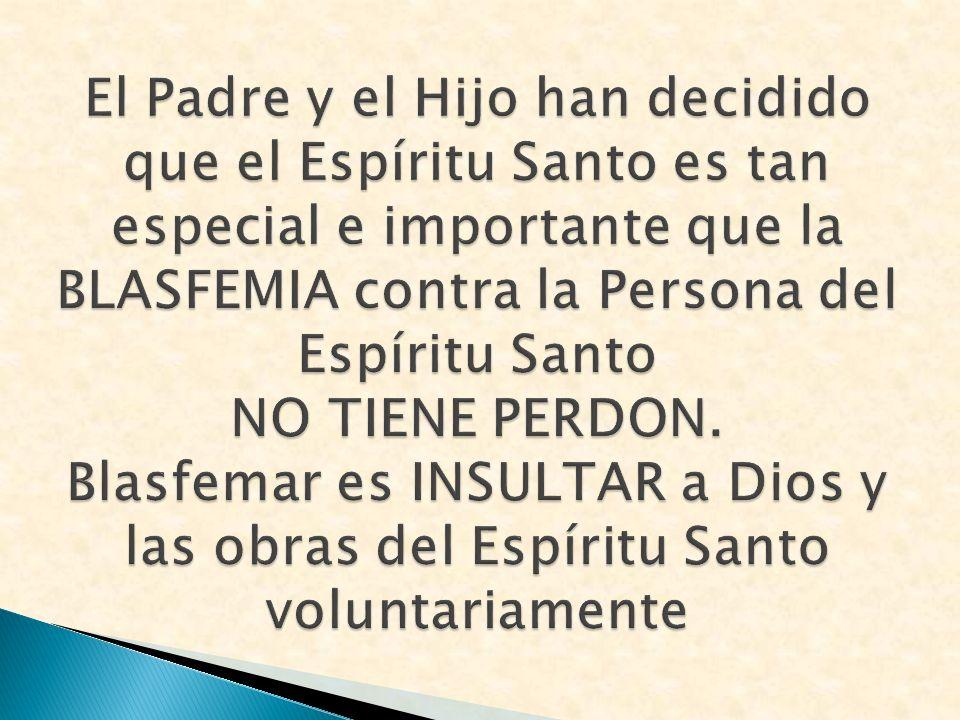 El Padre y el Hijo han decidido que el Espíritu Santo es tan especial e importante que la BLASFEMIA contra la Persona del Espíritu Santo NO TIENE PERD