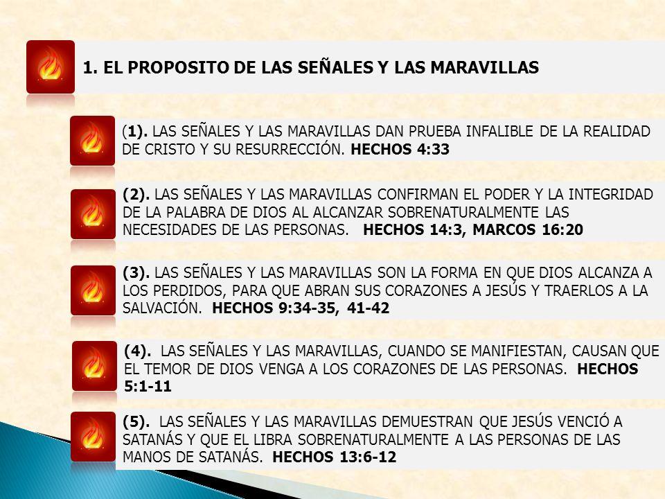 1. EL PROPOSITO DE LAS SEÑALES Y LAS MARAVILLAS (1). LAS SEÑALES Y LAS MARAVILLAS DAN PRUEBA INFALIBLE DE LA REALIDAD DE CRISTO Y SU RESURRECCIÓN. HEC