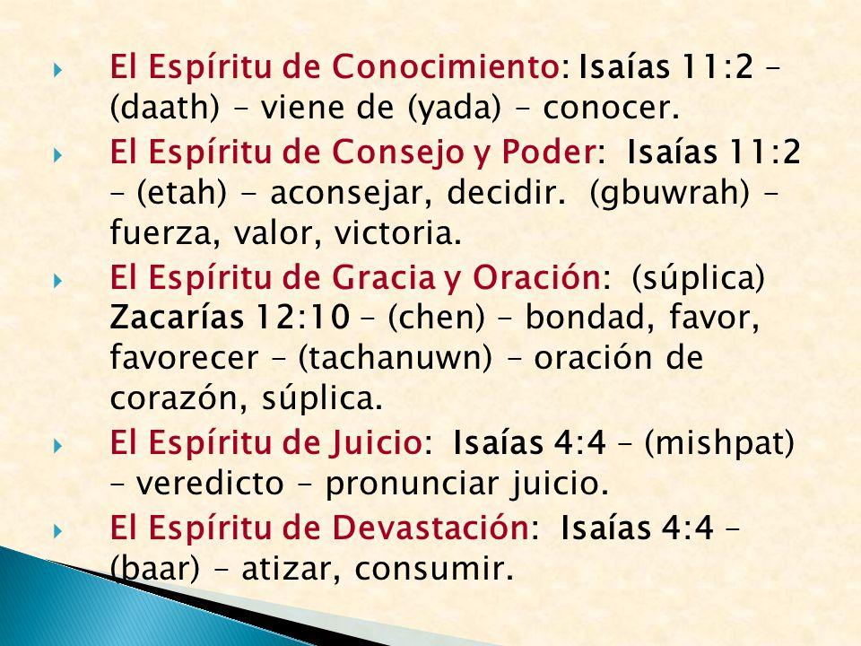 El Espíritu de Conocimiento: Isaías 11:2 – (daath) – viene de (yada) – conocer. El Espíritu de Consejo y Poder: Isaías 11:2 – (etah) - aconsejar, deci