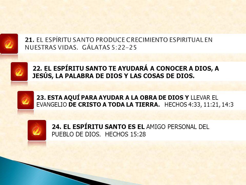 22. EL ESPÍRITU SANTO TE AYUDARÁ A CONOCER A DIOS, A JESÚS, LA PALABRA DE DIOS Y LAS COSAS DE DIOS. 23. ESTA AQUÍ PARA AYUDAR A LA OBRA DE DIOS Y LLEV