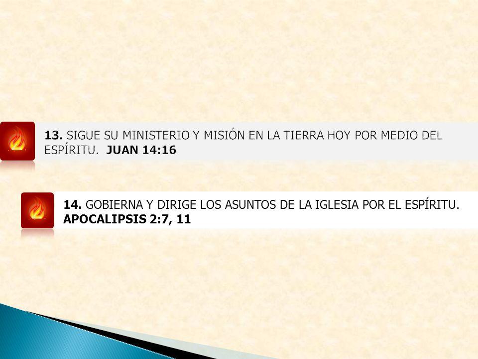 14. GOBIERNA Y DIRIGE LOS ASUNTOS DE LA IGLESIA POR EL ESPÍRITU. APOCALIPSIS 2:7, 11