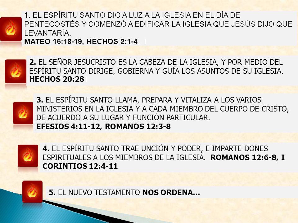 3. EL ESPÍRITU SANTO LLAMA, PREPARA Y VITALIZA A LOS VARIOS MINISTERIOS EN LA IGLESIA Y A CADA MIEMBRO DEL CUERPO DE CRISTO, DE ACUERDO A SU LUGAR Y F