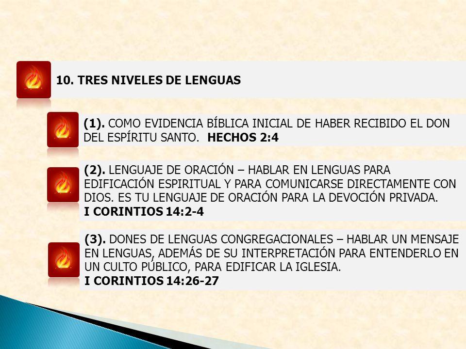 10. TRES NIVELES DE LENGUAS (1). COMO EVIDENCIA BÍBLICA INICIAL DE HABER RECIBIDO EL DON DEL ESPÍRITU SANTO. HECHOS 2:4 (2). LENGUAJE DE ORACIÓN – HAB