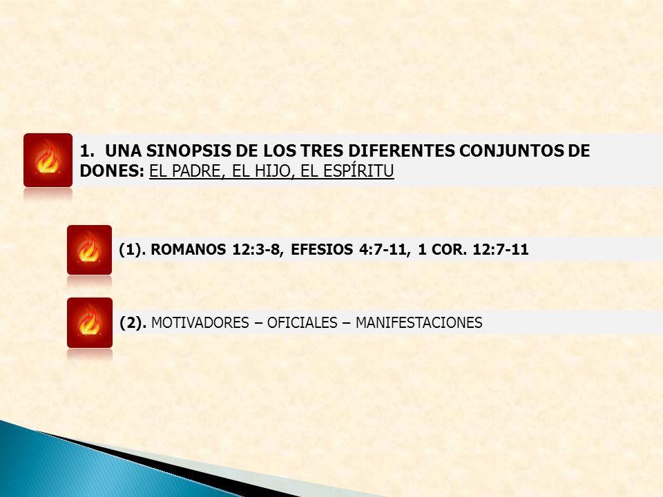1. UNA SINOPSIS DE LOS TRES DIFERENTES CONJUNTOS DE DONES: EL PADRE, EL HIJO, EL ESPÍRITU (1). ROMANOS 12:3-8, EFESIOS 4:7-11, 1 COR. 12:7-11 (2). MOT