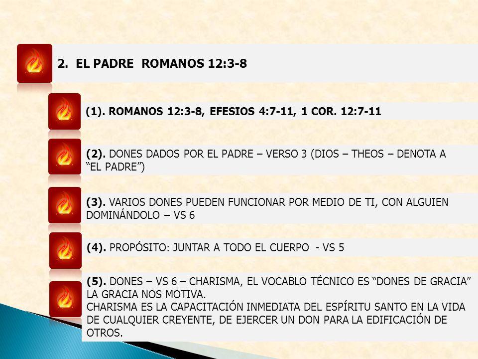 2.EL PADRE ROMANOS 12:3-8 (1). ROMANOS 12:3-8, EFESIOS 4:7-11, 1 COR.