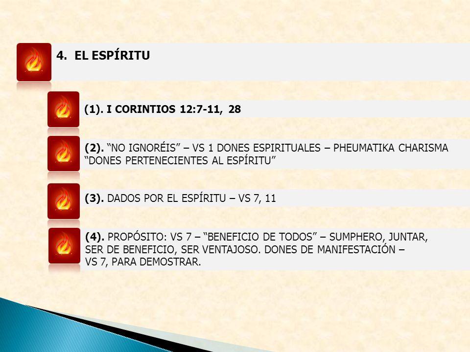 4. EL ESPÍRITU (1). I CORINTIOS 12:7-11, 28 (2). NO IGNORÉIS – VS 1 DONES ESPIRITUALES – PHEUMATIKA CHARISMA DONES PERTENECIENTES AL ESPÍRITU (3). DAD