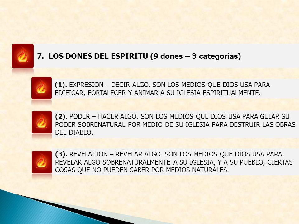 7. LOS DONES DEL ESPIRITU (9 dones – 3 categorías) (1). EXPRESION – DECIR ALGO. SON LOS MEDIOS QUE DIOS USA PARA EDIFICAR, FORTALECER Y ANIMAR A SU IG