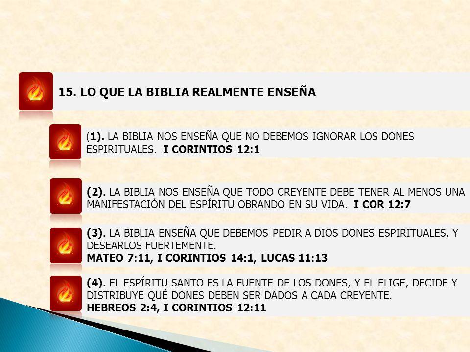 15. LO QUE LA BIBLIA REALMENTE ENSEÑA (1). LA BIBLIA NOS ENSEÑA QUE NO DEBEMOS IGNORAR LOS DONES ESPIRITUALES. I CORINTIOS 12:1 (2). LA BIBLIA NOS ENS
