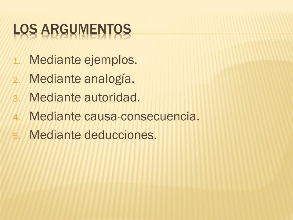 1. Mediante ejemplos. 2. Mediante analogía. 3. Mediante autoridad. 4. Mediante causa-consecuencia. 5. Mediante deducciones.