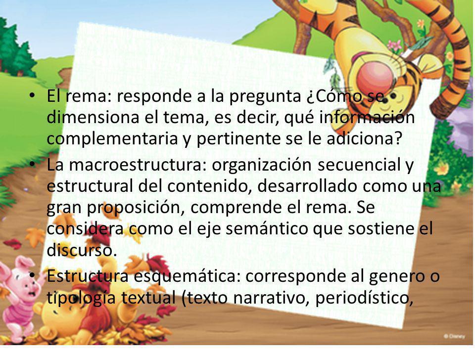 El rema: responde a la pregunta ¿Cómo se dimensiona el tema, es decir, qué información complementaria y pertinente se le adiciona? La macroestructura: