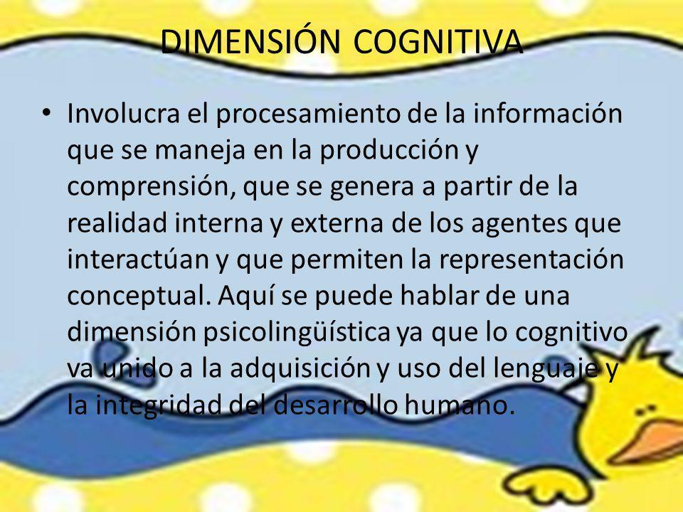 DIMENSIÓN COGNITIVA Involucra el procesamiento de la información que se maneja en la producción y comprensión, que se genera a partir de la realidad i