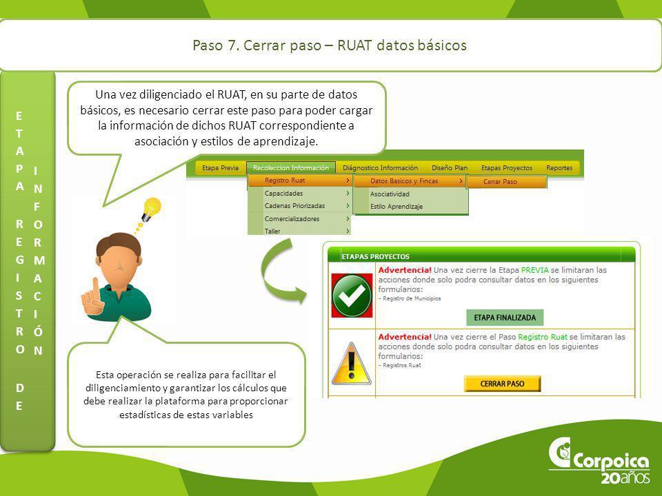 Paso 7. Cerrar paso – RUAT datos básicos Una vez diligenciado el RUAT, en su parte de datos básicos, es necesario cerrar este paso para poder cargar l