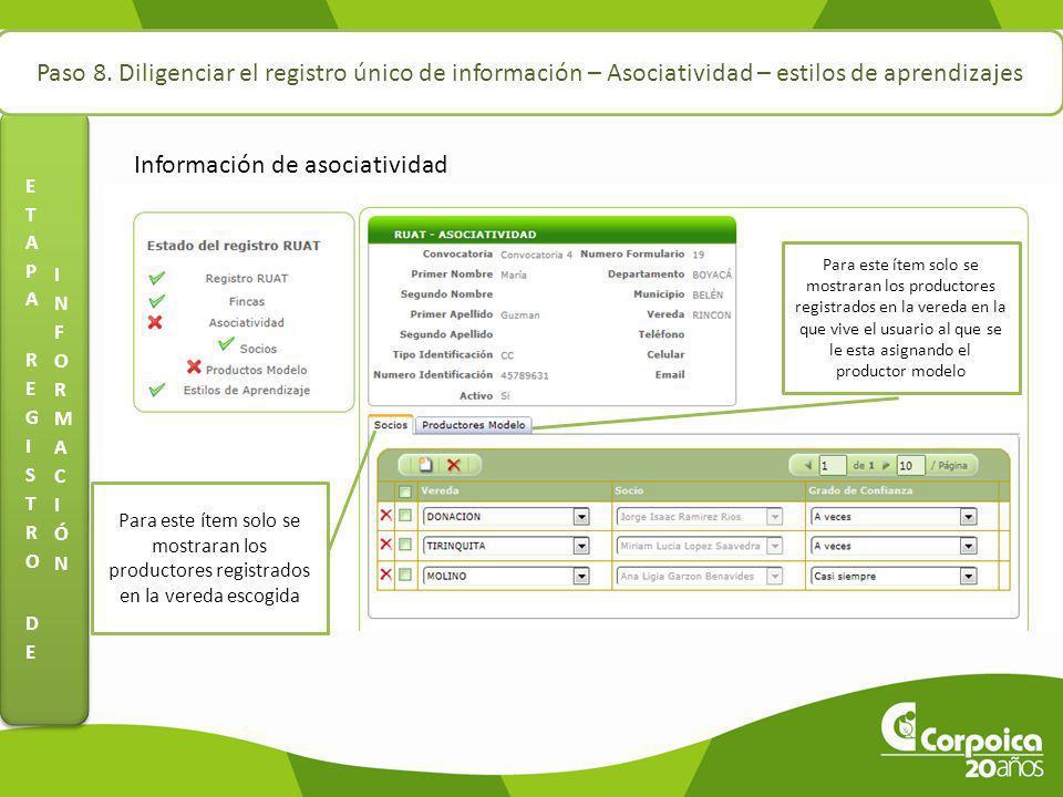Paso 8. Diligenciar el registro único de información – Asociatividad – estilos de aprendizajes Información de asociatividad Para este ítem solo se mos