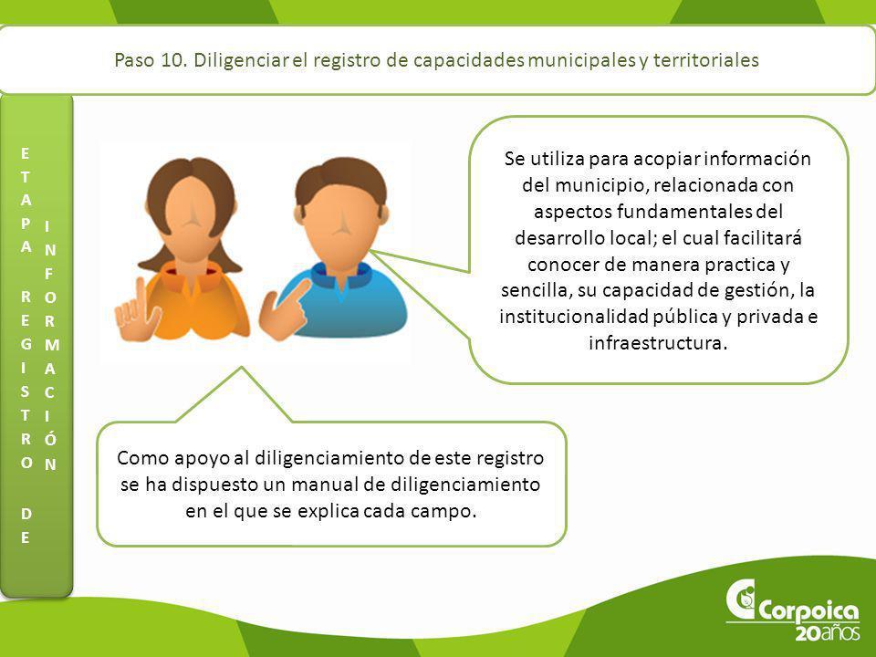 Paso 10. Diligenciar el registro de capacidades municipales y territoriales Se utiliza para acopiar información del municipio, relacionada con aspecto
