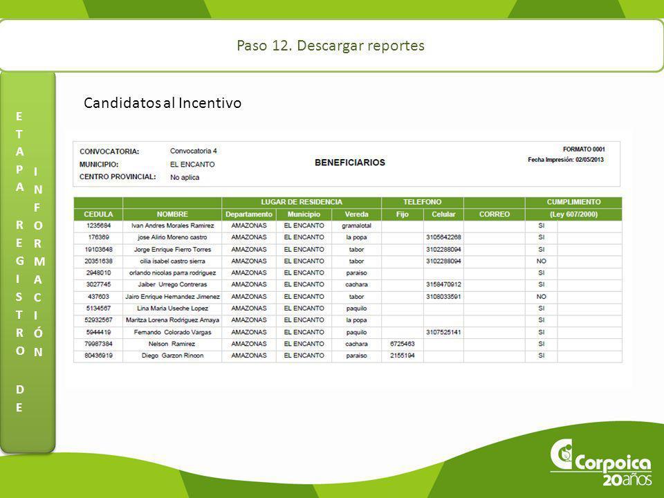 Paso 12. Descargar reportes Candidatos al Incentivo