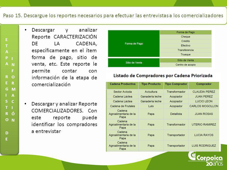 Paso 15. Descargue los reportes necesarios para efectuar las entrevistas a los comercializadores Descargar y analizar Reporte CARACTERIZACIÓN DE LA CA
