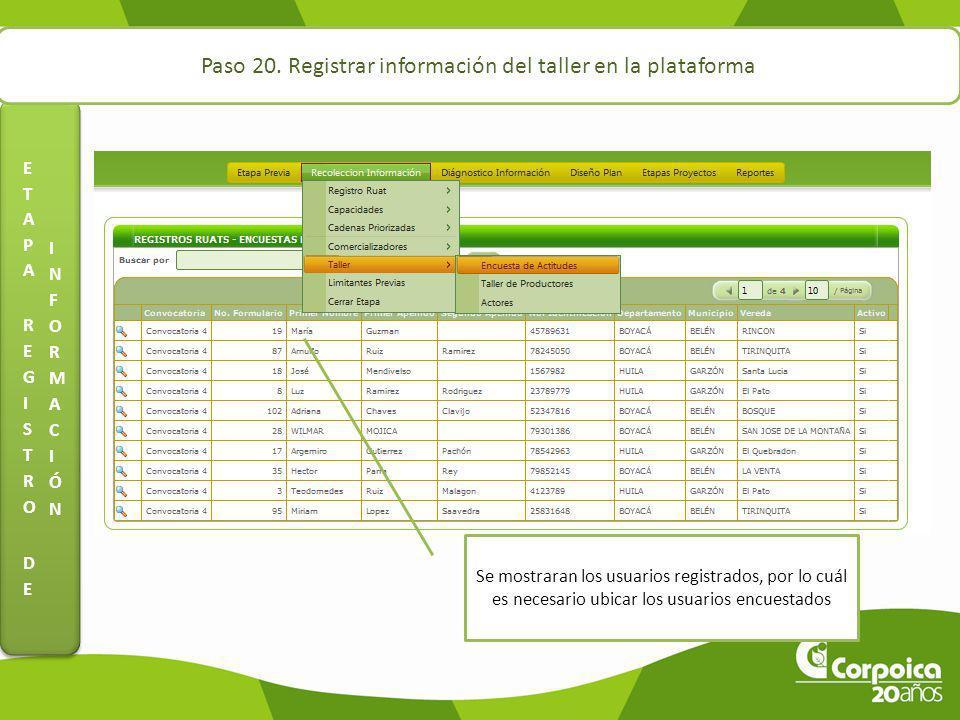 Paso 20. Registrar información del taller en la plataforma Se mostraran los usuarios registrados, por lo cuál es necesario ubicar los usuarios encuest