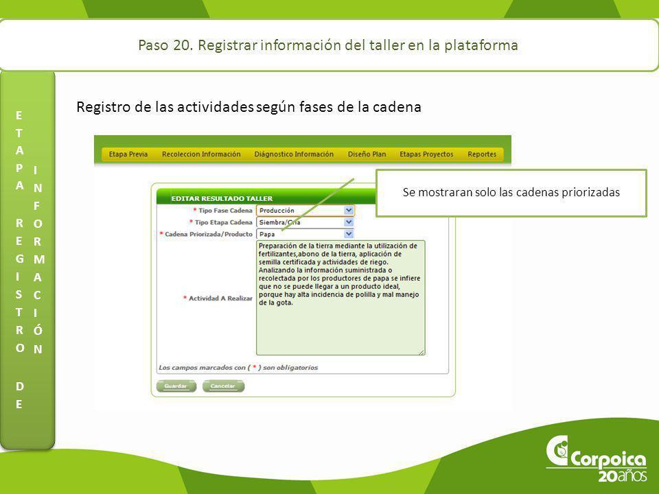 Paso 20. Registrar información del taller en la plataforma Registro de las actividades según fases de la cadena Se mostraran solo las cadenas prioriza