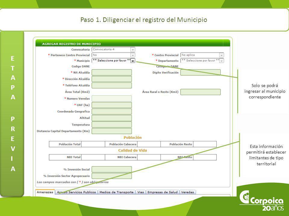 Paso 1. Diligenciar el registro del Municipio Solo se podrá ingresar al municipio correspondiente Esta información permitirá establecer limitantes de