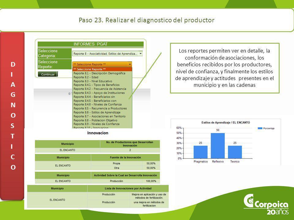 Paso 23. Realizar el diagnostico del productor Los reportes permiten ver en detalle, la conformación de asociaciones, los beneficios recibidos por los
