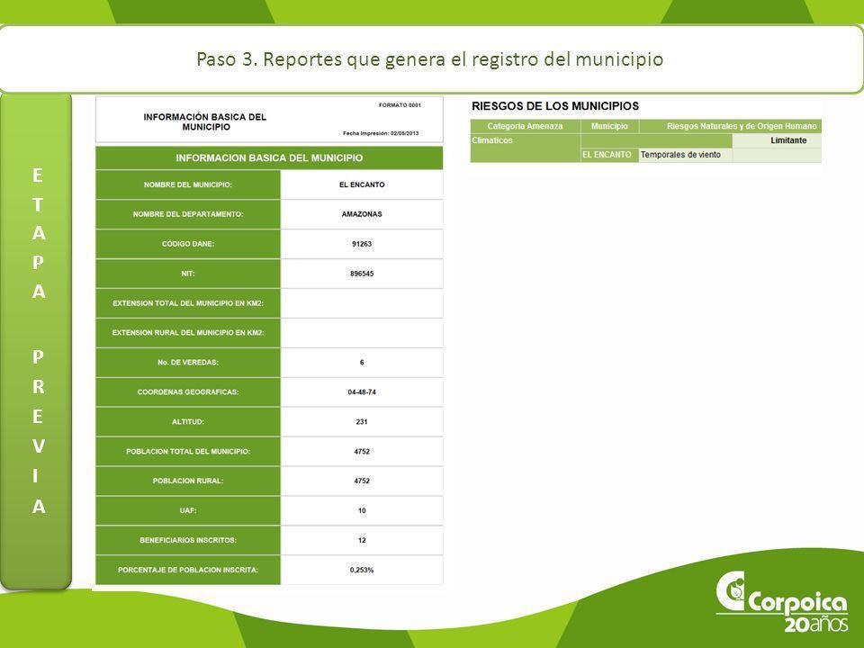 Paso 3. Reportes que genera el registro del municipio