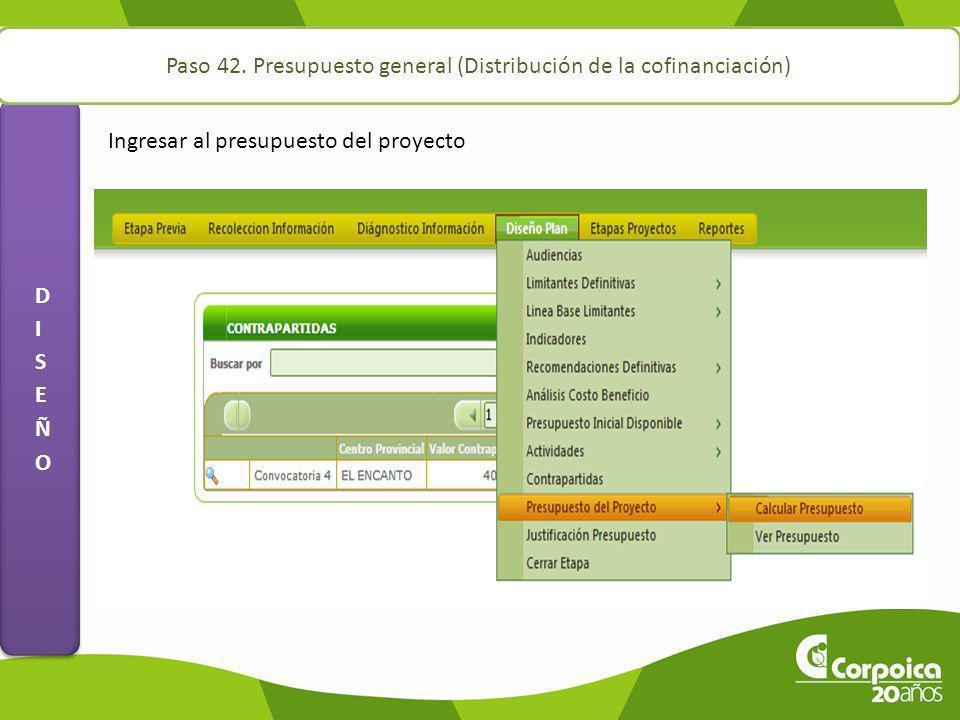 Paso 42. Presupuesto general (Distribución de la cofinanciación) Ingresar al presupuesto del proyecto