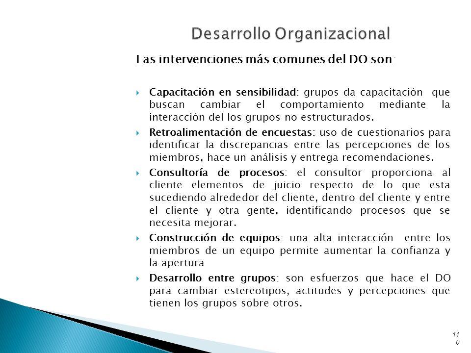 Las intervenciones más comunes del DO son: Capacitación en sensibilidad: grupos da capacitación que buscan cambiar el comportamiento mediante la inter
