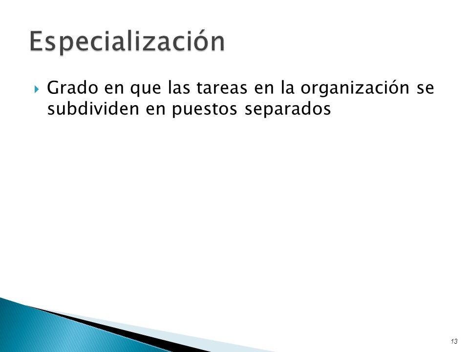 Grado en que las tareas en la organización se subdividen en puestos separados 13