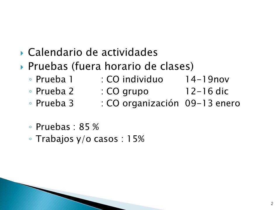 Calendario de actividades Pruebas (fuera horario de clases) Prueba 1: CO individuo14-19nov Prueba 2: CO grupo12-16 dic Prueba 3: CO organización 09-13