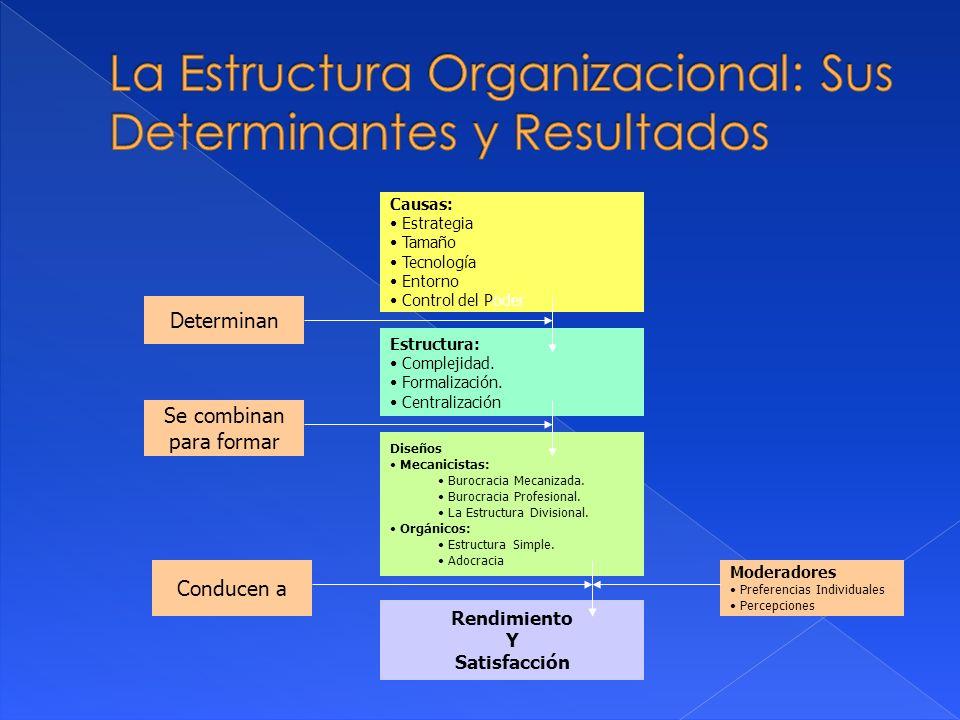 Causas: Estrategia Tamaño Tecnología Entorno Control del Poder Estructura: Complejidad. Formalización. Centralización Diseños Mecanicistas: Burocracia