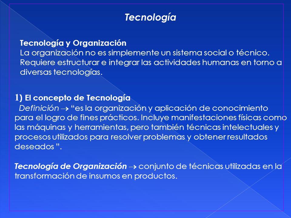 1 ) El concepto de Tecnología Definición es la organización y aplicación de conocimiento para el logro de fines prácticos. Incluye manifestaciones fís