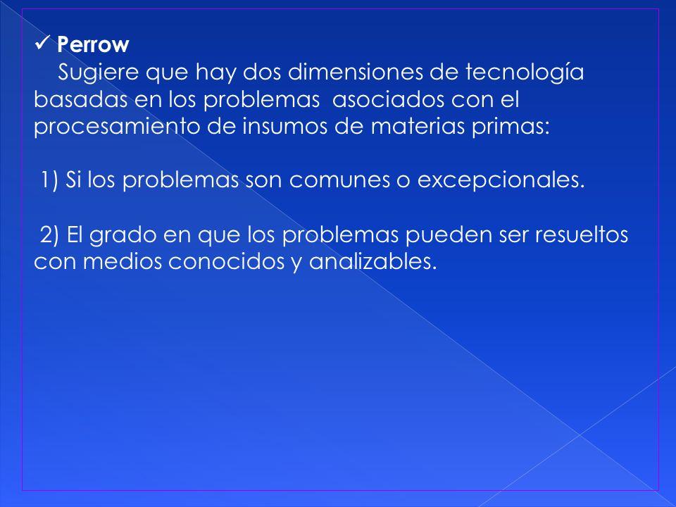 Perrow Sugiere que hay dos dimensiones de tecnología basadas en los problemas asociados con el procesamiento de insumos de materias primas: 1) Si los