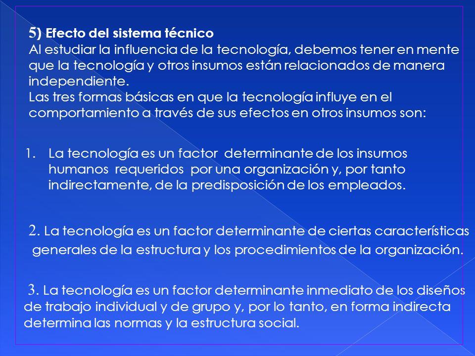 3. La tecnología es un factor determinante inmediato de los diseños de trabajo individual y de grupo y, por lo tanto, en forma indirecta determina las