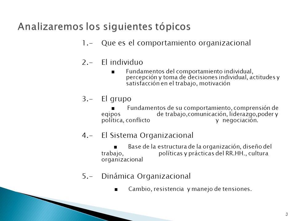 1.-Que es el comportamiento organizacional 2.-El individuo Fundamentos del comportamiento individual, percepción y toma de decisiones individual, acti