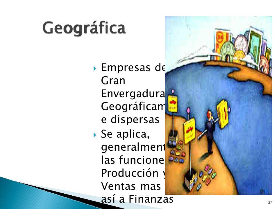 Empresas de Gran Envergadura Geográficament e dispersas Se aplica, generalmente a las funciones de Producción y Ventas mas no así a Finanzas 37 Geográ