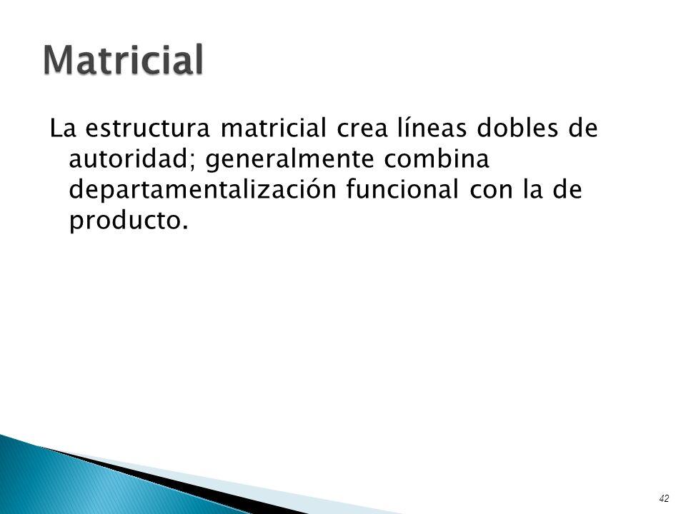 La estructura matricial crea líneas dobles de autoridad; generalmente combina departamentalización funcional con la de producto. 42 Matricial